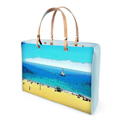 HWOMEN'S LEATHER TOTE 01 (BLUE)  -  AT THE BEACH