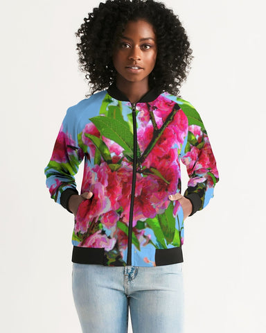 WOMEN'S BOMBER JACKET 13 - IN THE GARDEN / PEACH BLOSSOMS