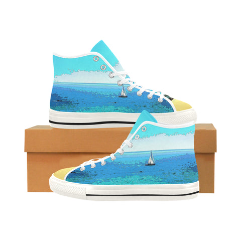 WOMEN'S CANVAS HIGH TOPS 01 - AT THE BEACH