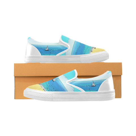 WOMEN'S CANVAS SLIP ON SNEAKERS 01 - AT THE BEACH