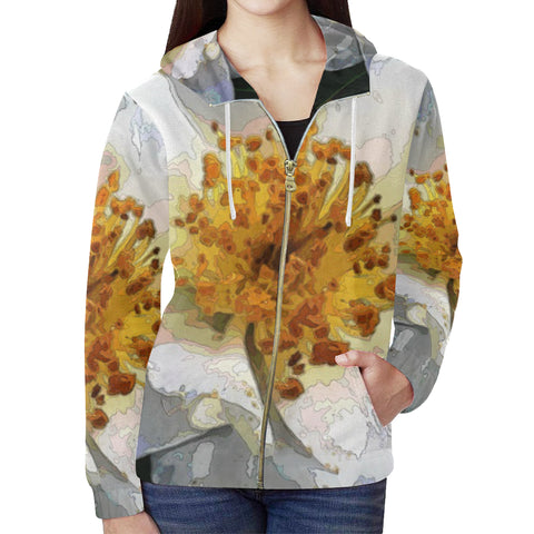 WOMEN'S SWEATSHIRT HOODED WITH ZIPPER 02 -IN THE GARDEN