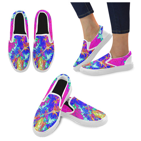 WOMEN'S CANVAS SLIP ON SNEAKERS 05 - IN THE GARDEN