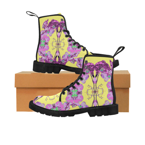 WOMEN'S CANVAS LACE UP BOOTS 03 - IN THE GARDEN