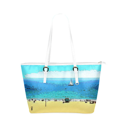 WOMEN'S TOTE BAG (WHITE) 01 - AT THE BEACH