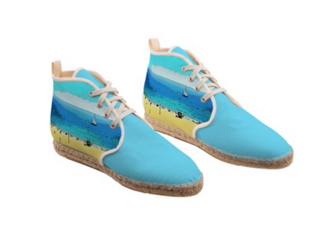 WOMEN'S HI-TOP LACE UP ESPADRILLES 01 - AT THE BEACH