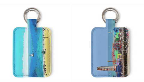LEATHER KEY FOB (RECTANGULAR SHAPED) 02 - AT THE BEACH