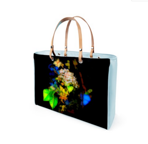 WOMEN'S LEATHER TOTE 02 (BLUE)  -  IN THE GARDEN