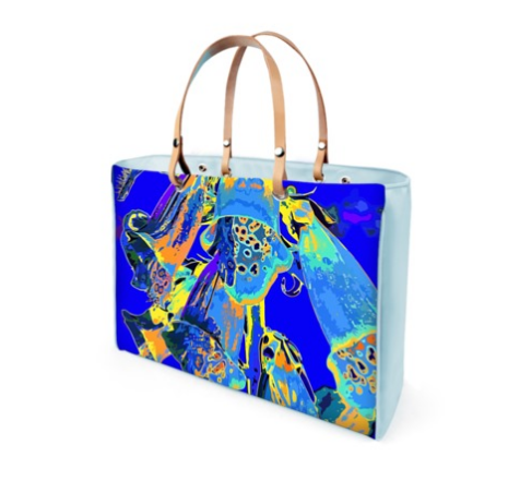 WOMEN'S LEATHER TOTE 06 (BLUE)  -  IN THE GARDEN
