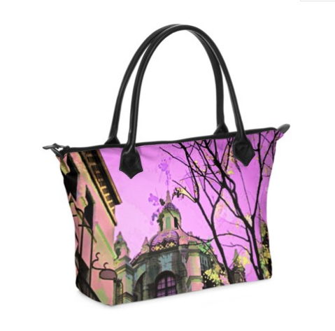 WOMEN'S ZIP TOP TOTE BAG 01 - AROUND LA / MISSION INN