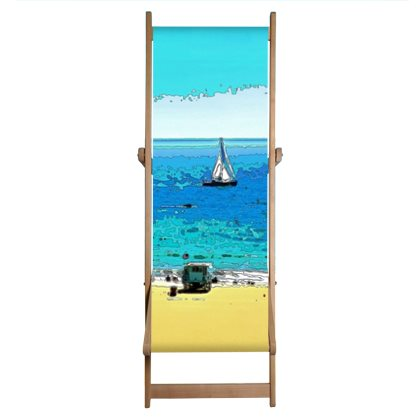 DECK CHAIR (INDIVIDUAL) / WOOD FRAME 01 - AT THE BEACH