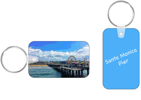 VINYL KEY FOB (RECTANGULAR SHAPED) 01 - AROUND LA / SANTA MONICA PIER