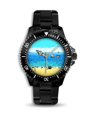 MEN'S WATCH - BLACK STAINLESS STEEL BAND 01 - AT THE BEACH
