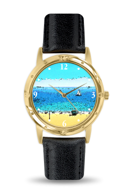 MEN'S WATCH GOLD FACE WITH BLACK LEATHER BAND 01 - AT THE BEACH