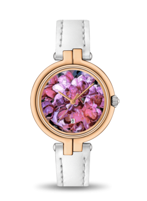 WOMEN'S WATCH (TISSOT) WITH WHITE LEATHER BAND 02 - IN THE GARDEN