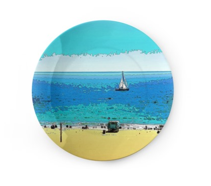 "DECORATIVE CERAMIC PLATE (8"" DIA.) 01 - AT THE BEACH"