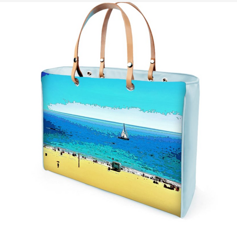 WOMEN'S LEATHER TOTE 01 (BLUE)  -  AT THE BEACH