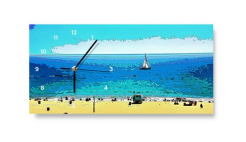 WALL CLOCK / RECTANGULAR 01 - AT THE BEACH