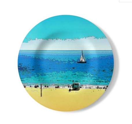 "DECORATIVE STONEMAX WALL PLATE (10.5"" DIA.) 01 - AT THE BEACH"