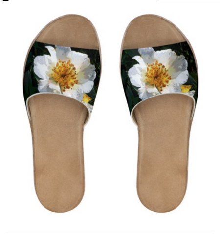 WOMEN'S LEATHER SLIDES 02 - IN THE GARDEN