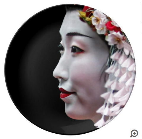 DECORATIVE PORCELAIN DISPLAY PLATE - GEISHA 01 - ASIAN JOURNEY