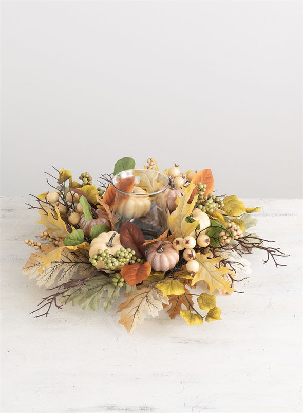 PUMPKIN LEAF BERRY CENTERPIECE