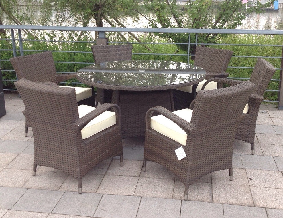 wicker outdoor garden furniture 6 seat round dining set brown ebay