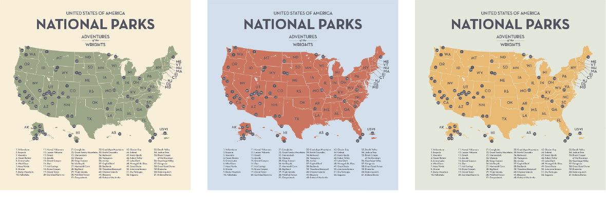 Personalized Push Pin Travel Maps of National Parks