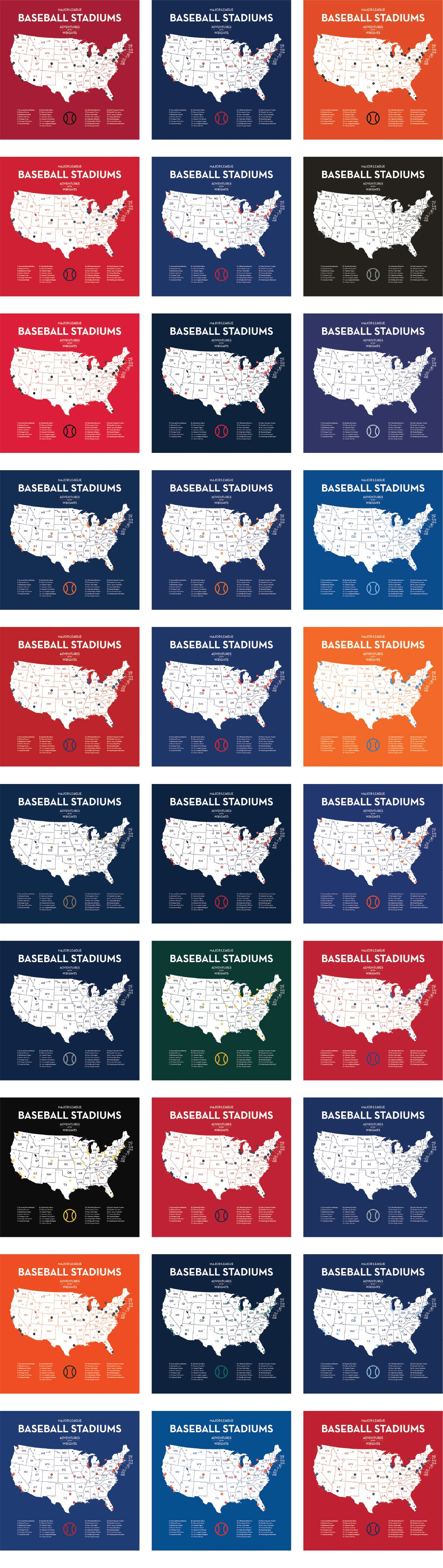 Personalized Baseball Stadium Ballpark Quest Maps