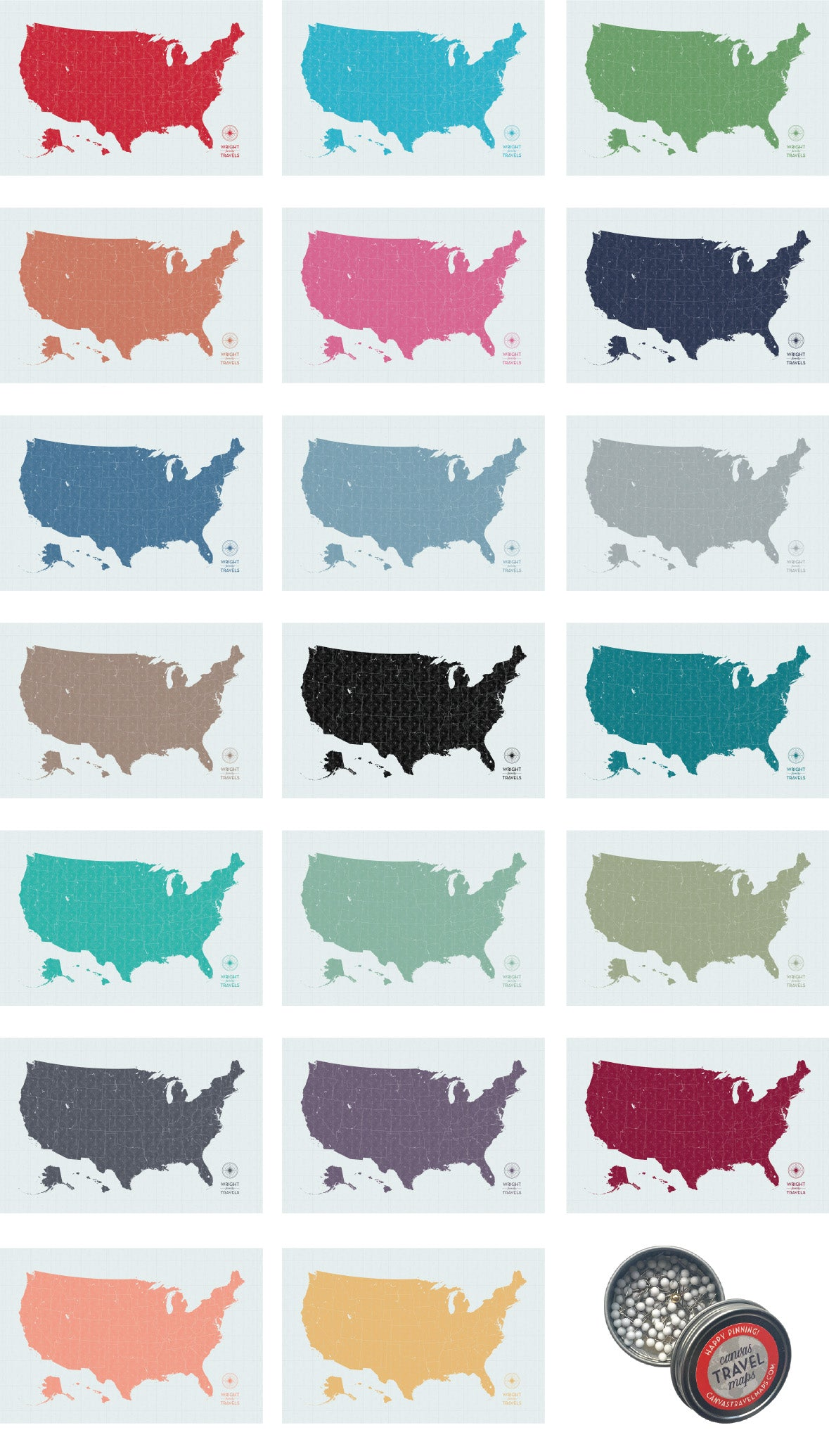 Personalized Push Pin Maps of the USA