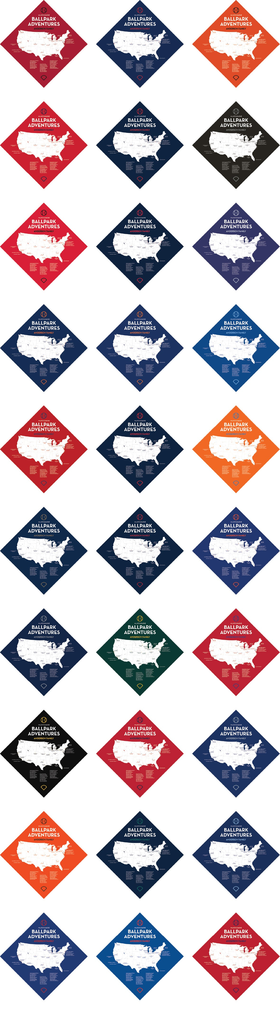 Personalized Ballpark Quest Push Pin Maps