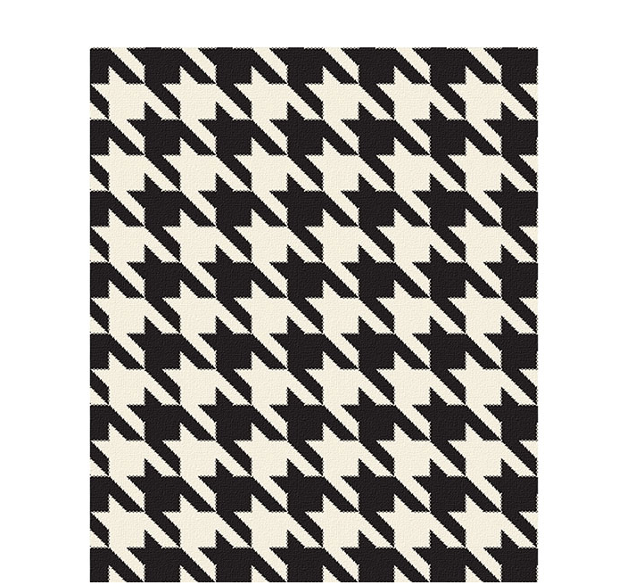 50x60 inch eco-cotton knit blanket with houndstooth pattern in custom colors