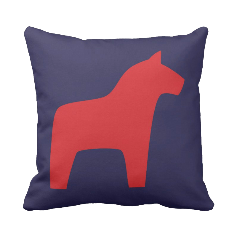 20 inch Dala Horse pillow in custom colors for indoor/outdoor use