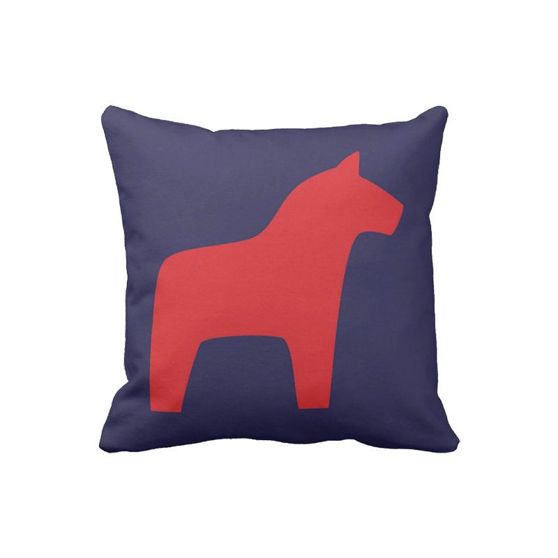 16 inch Dala Horse pillow in custom colors for indoor/outdoor use