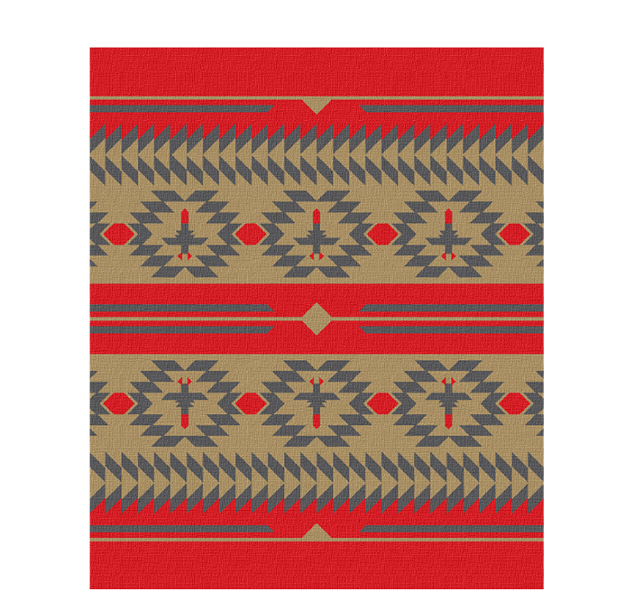 50x60 inch eco-cotton knit blanket with a native american blanket pattern in custom colors