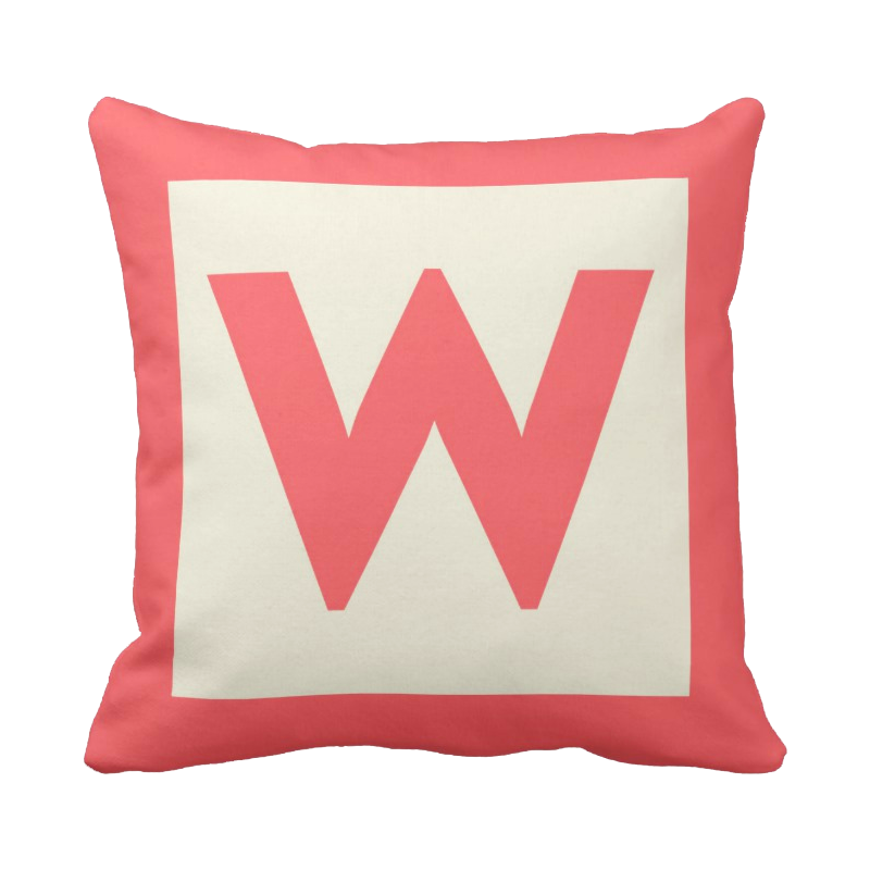 20 inch Letter Block Monogram pillow in custom colors for indoor/outdoor use