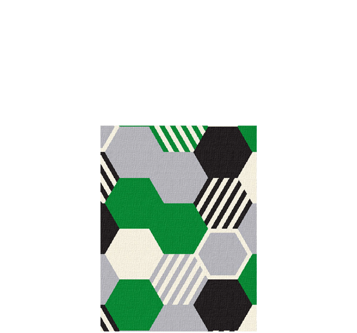 30x40 inch eco-cotton knit blanket with bold geometric hexagon pattern and stripes in custom colors
