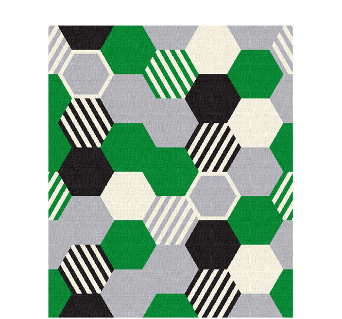 50x60 inch eco-cotton knit blanket with bold geometric hexagon pattern and stripes in custom colors