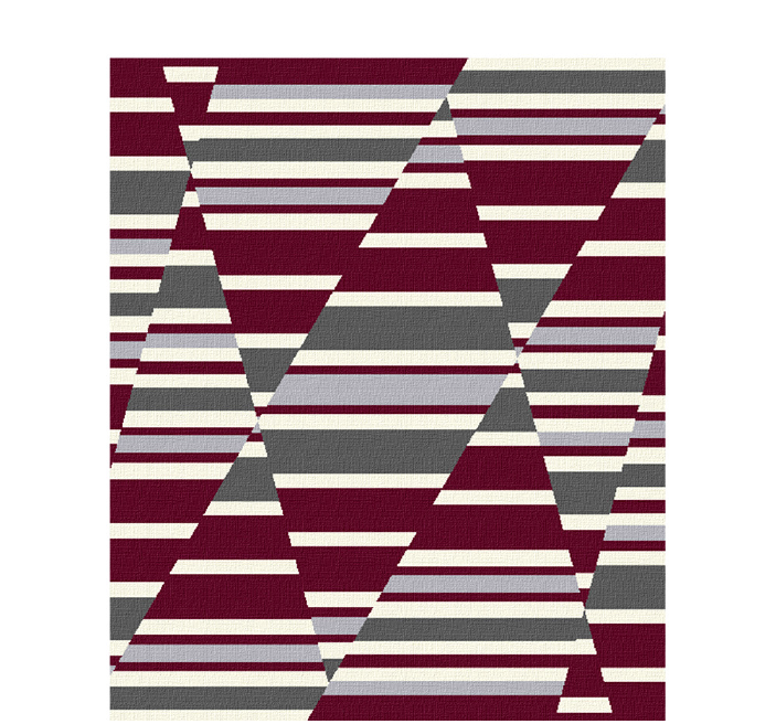 50x60 inch eco-cotton knit blanket with a bold geometric pattern and stripes in custom colors
