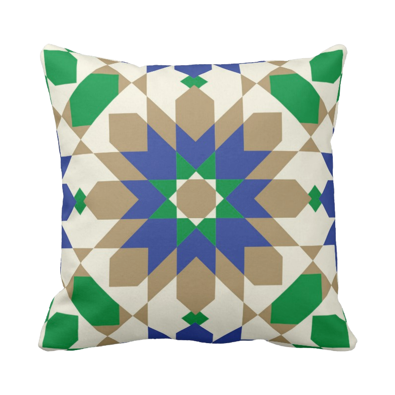 20 inch Moroccan tile pillow in custom colors for indoor/outdoor use