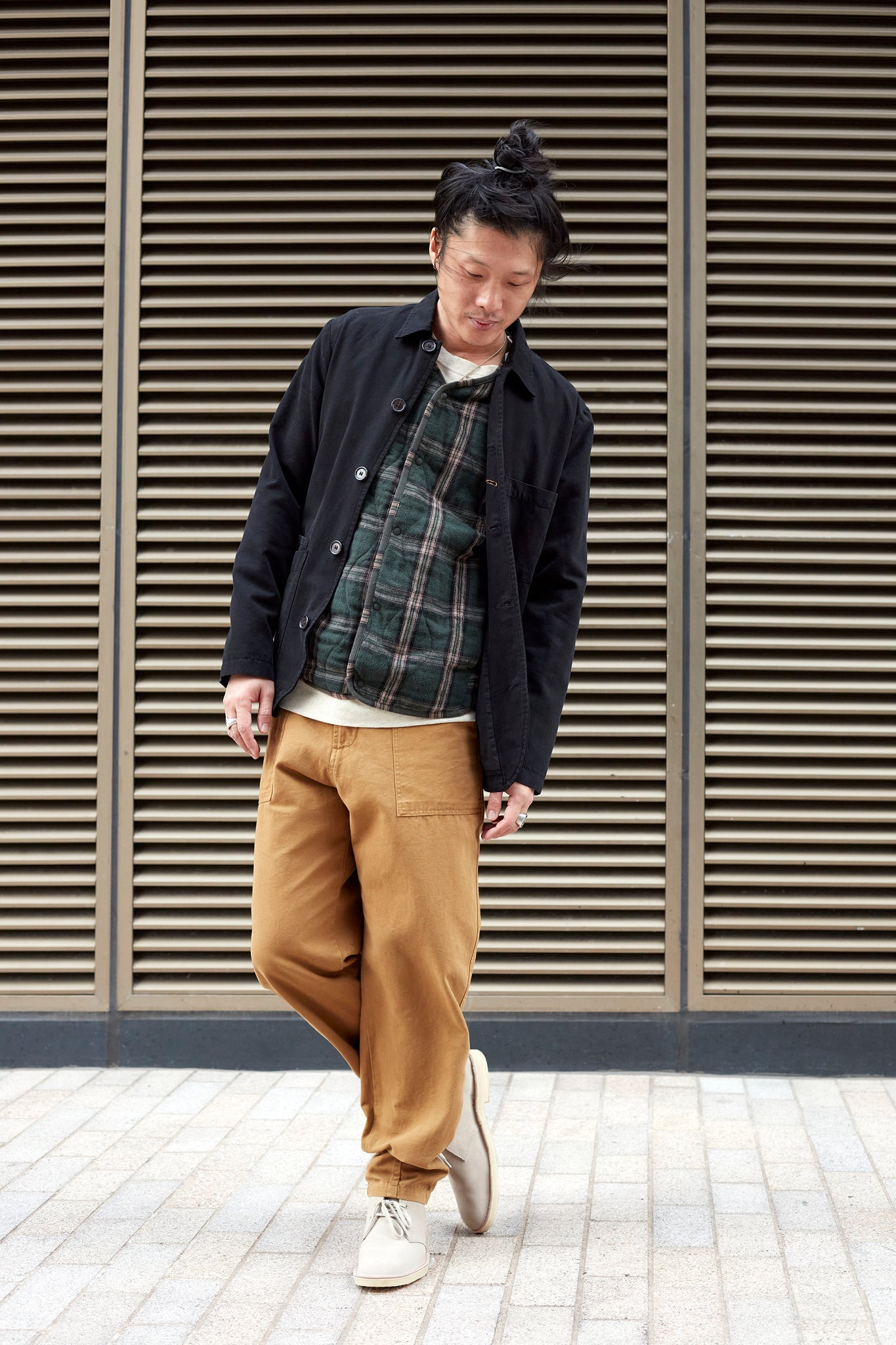 Hardwearing military style fatigue pants and Universal Works X Sanders suede shoes
