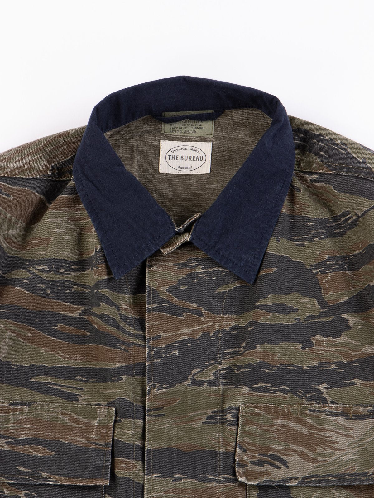 Universal Works collaboration with the bureau belfast on a camouflage and ripstop vintage army jacket.