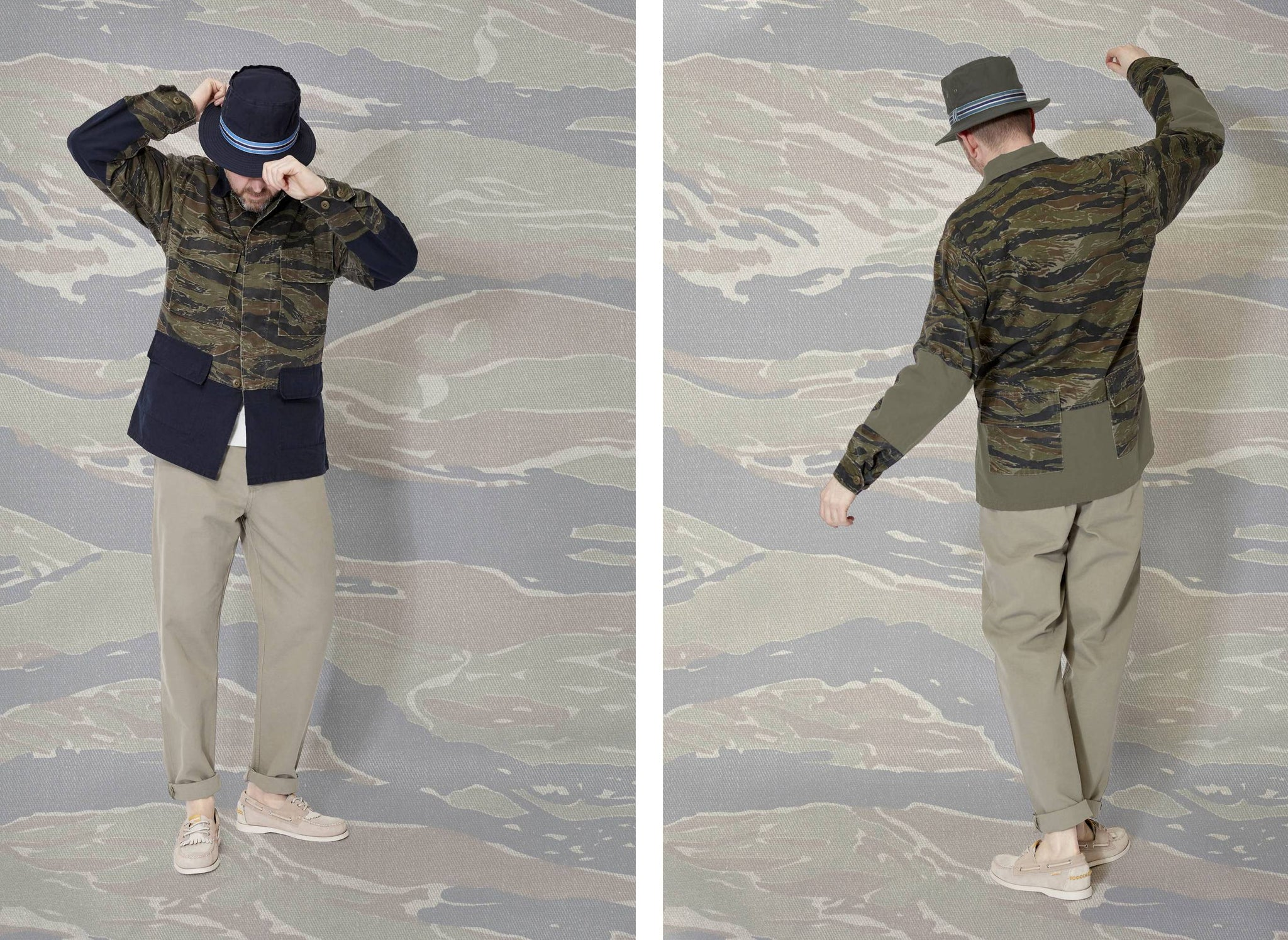 Model wearing cableami hat, a bureau belfast x universal works camo ripstop jacket and sebago shoes.