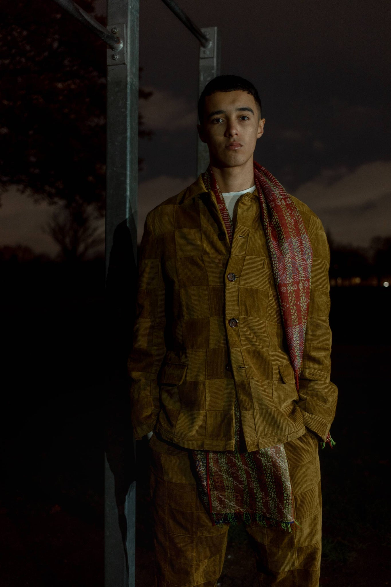 502 Bad Gateway Magazine, Universal Works Mustard patchwork cord jacket, mustard patchwork cord pants, red embroidered  scarf,