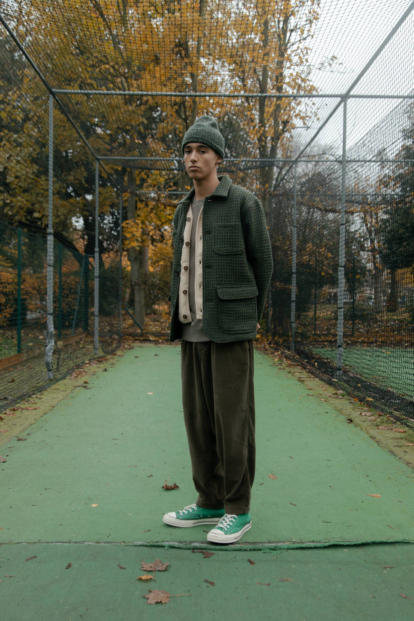 502 Bad Gateway Magazine, Universal Works GreenWaffle Jacket, Green Wool hat, Olive cord Pants,