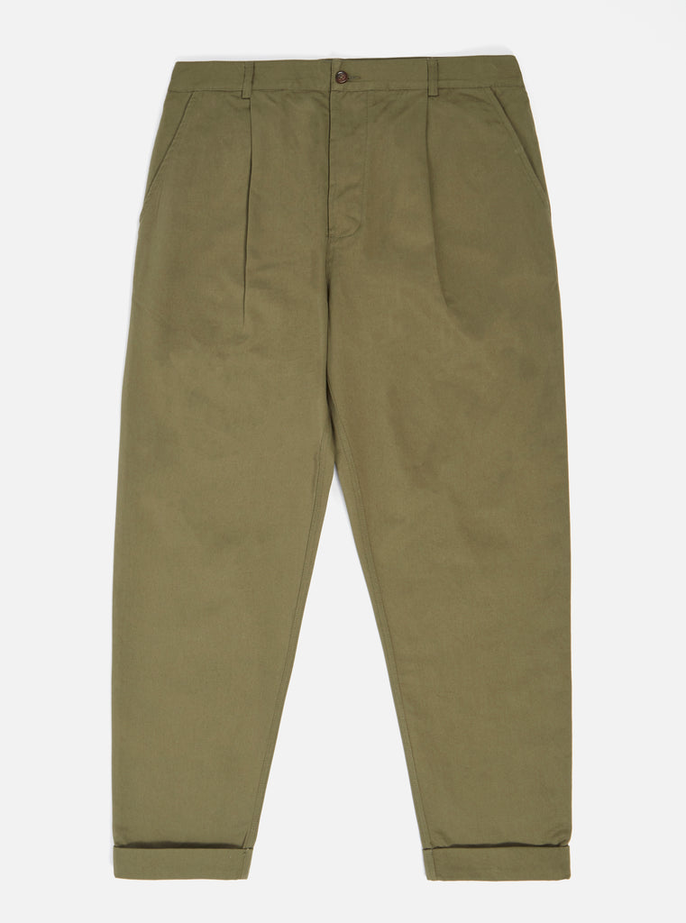 Universal Works Pleated Pant in Light Olive Twill