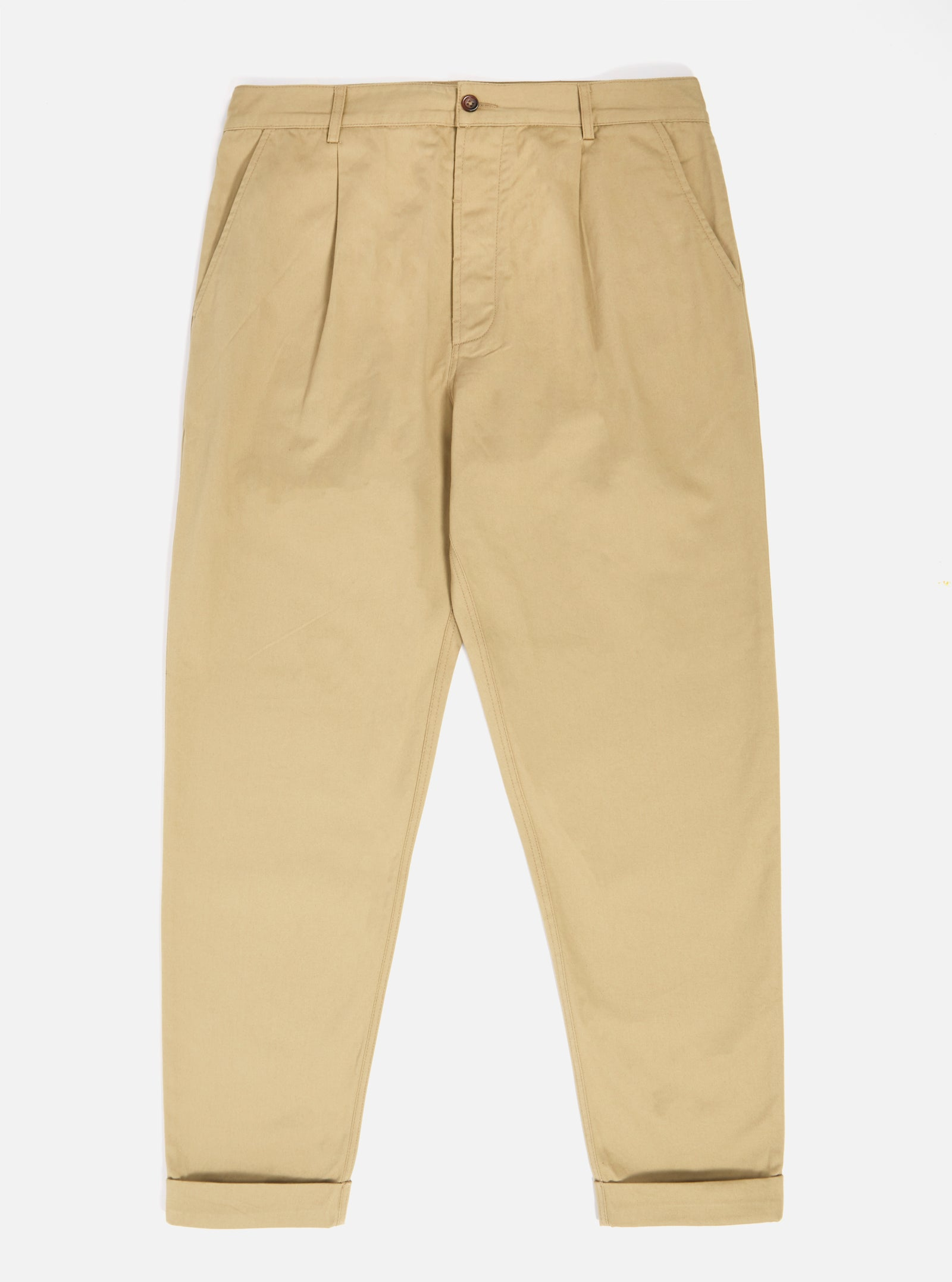 Universal Works Pleated Pant in Sand Twill