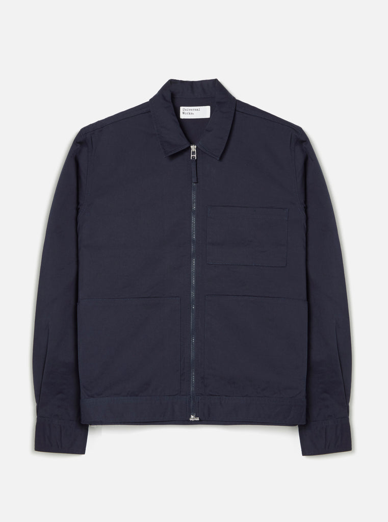 Universal Works Zip Uniform Jacket in Navy Twill