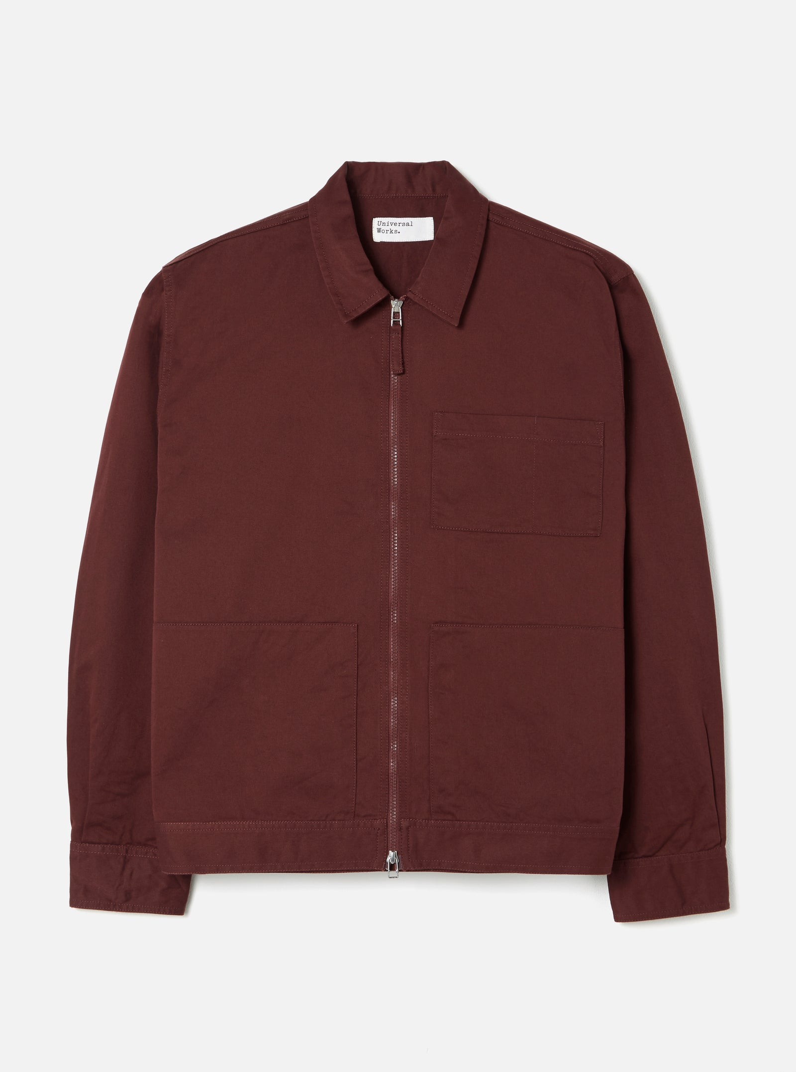 Universal Works Zip Uniform Jacket in Raisin Twill