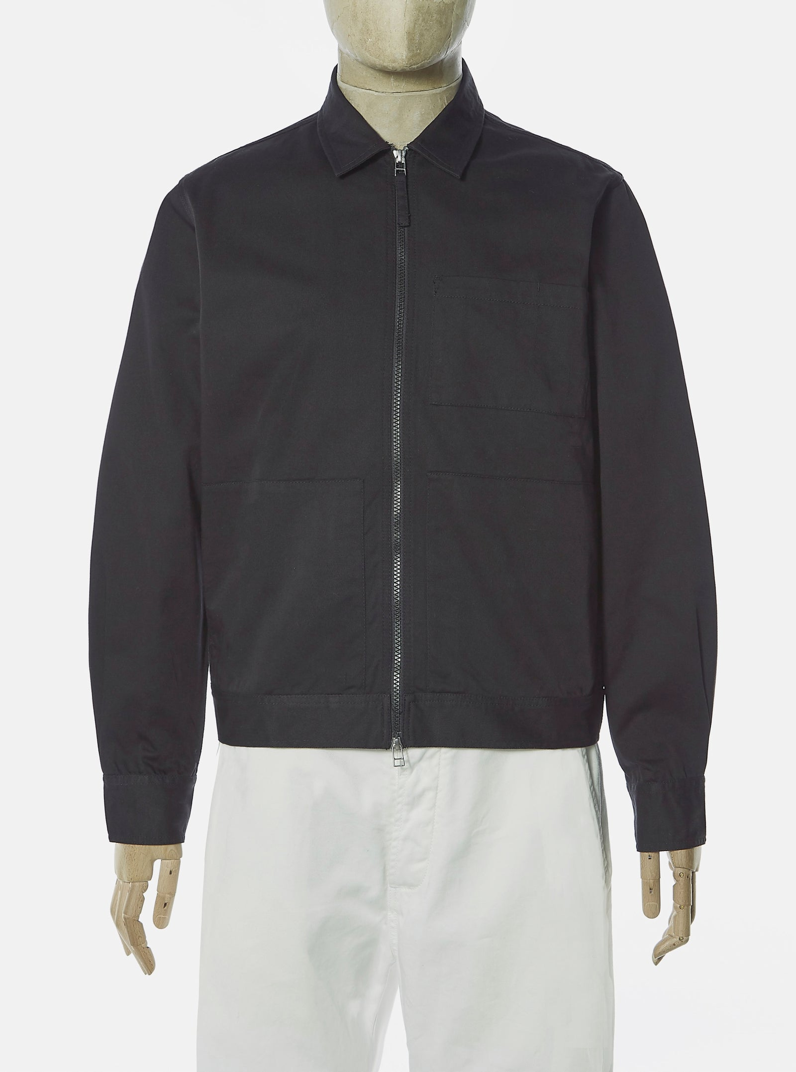 Universal Works Zip Uniform Jacket in Black Twill