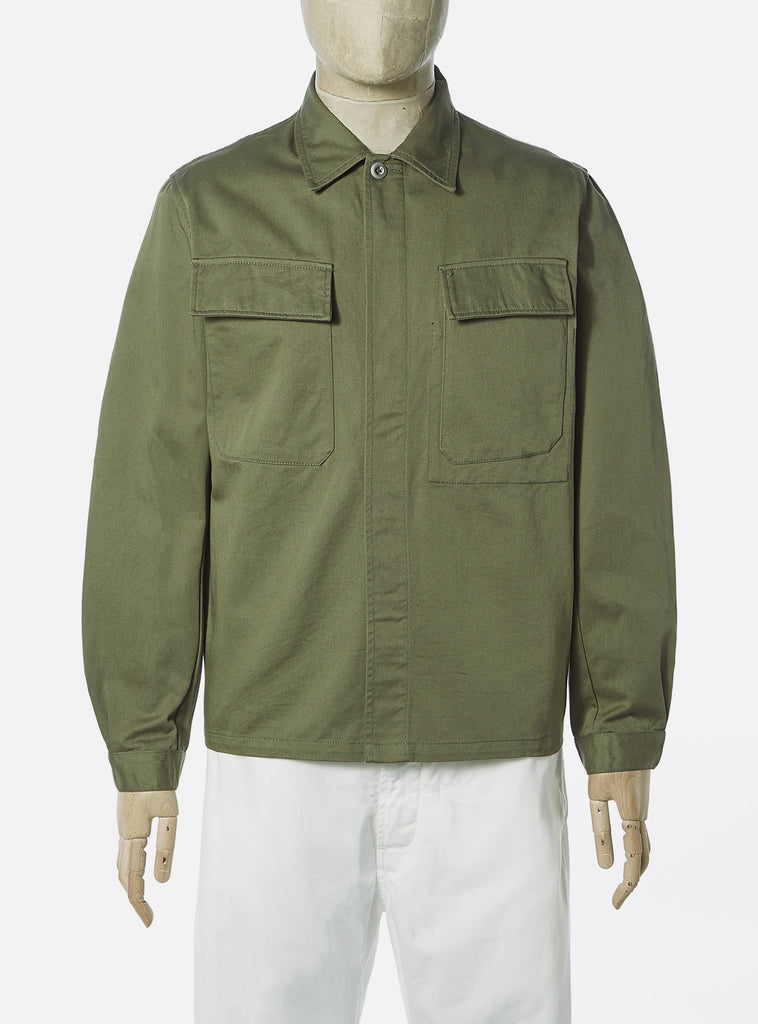 Universal Works MW Chore Overshirt in Light Olive Twill